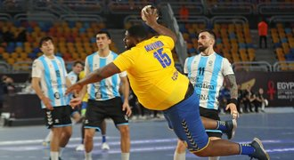 A huge handball player from Congo enjoying the world.  September at the World Championships, in