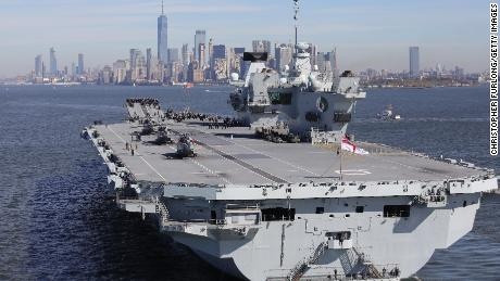 British aircraft carrier HMS Queen Elizabeth arrives in New York on October 19, 2018.