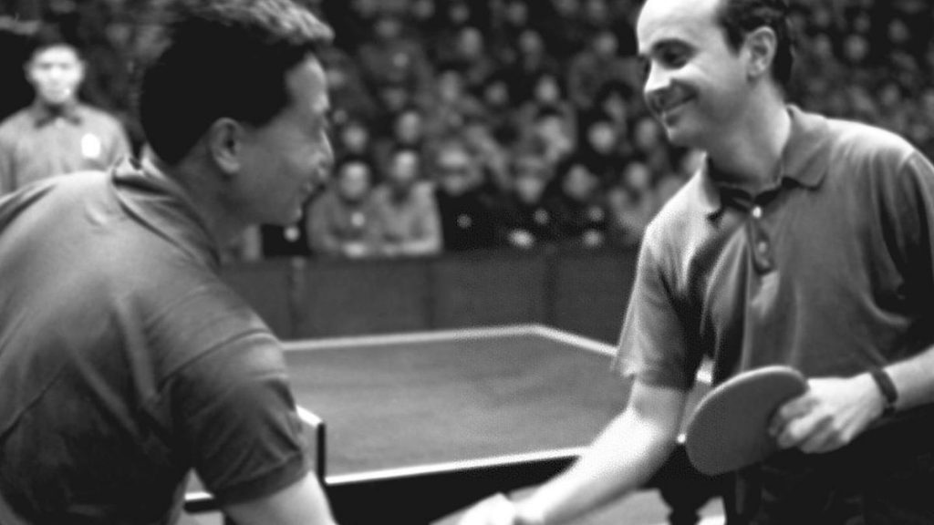 A sport that unites enemies.  China and the United States of America celebrate their fiftieth anniversary