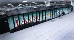Jaguar's ORNL supercomputer in 2009, when it had 224,000 processor cores and more than 360 terabytes of combined local memory in total.  (Source of ORNL).