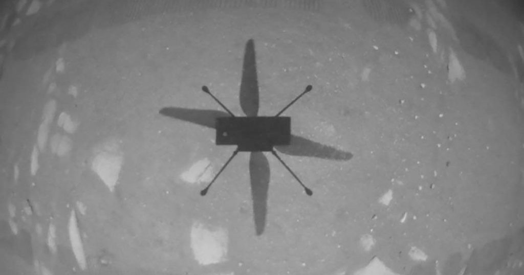 108 seconds in the air.  The Ingenuity helicopter completed its fifth flight on the surface of Mars, landing at another location for the first time Aeroslas