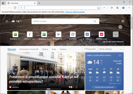 A new tab in Edge browser