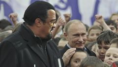 Vladimir Putin with American action hero Steven Seagal, a new gymnasium in Moscow.