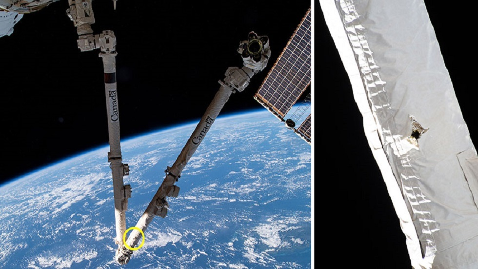 A small piece of space junk hits the International Space Station and leaves a hole in the robotic arm