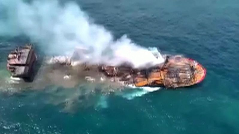 Container ship sinking near Sri Lanka.  There is a risk of a major environmental disaster