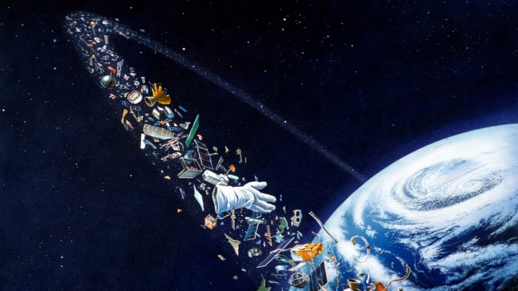 Humanity has disrupted orbit.  The 'clean shot' of the ISS arm is a warning exclamation point