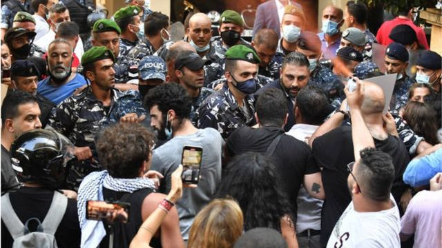 Relatives of the victims of the Beirut port explosion demonstrated in front of the home of the Minister of Interior, demanding a fair trial for the accused.