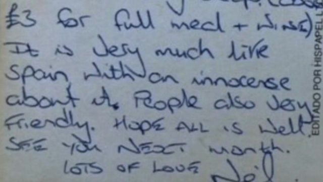 The postcard that Neil Crocker sent to his girlfriend's father