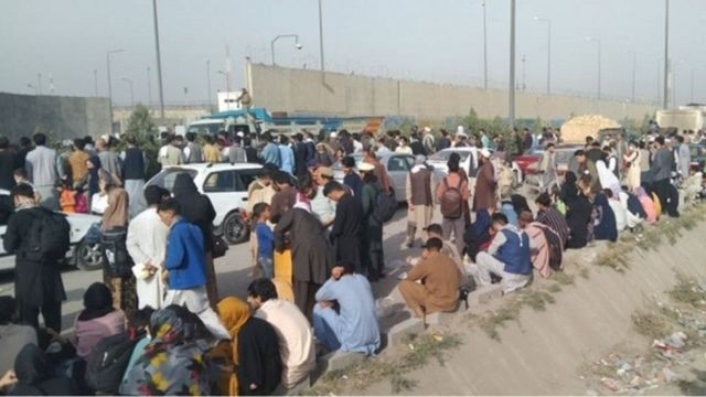 Crowded outside Kabul airport