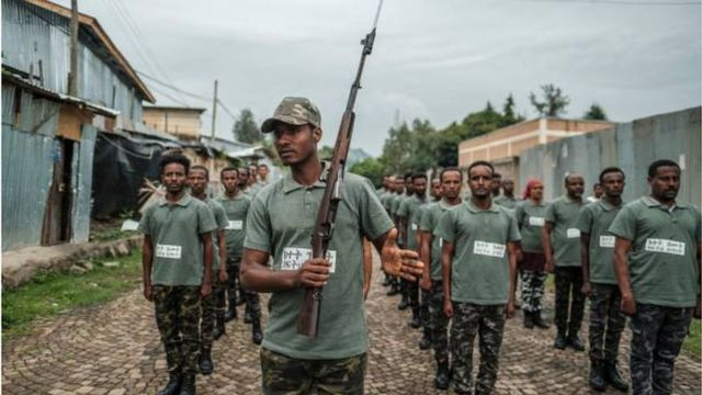 Recruits in the regional reserve forces of the state of Amhara