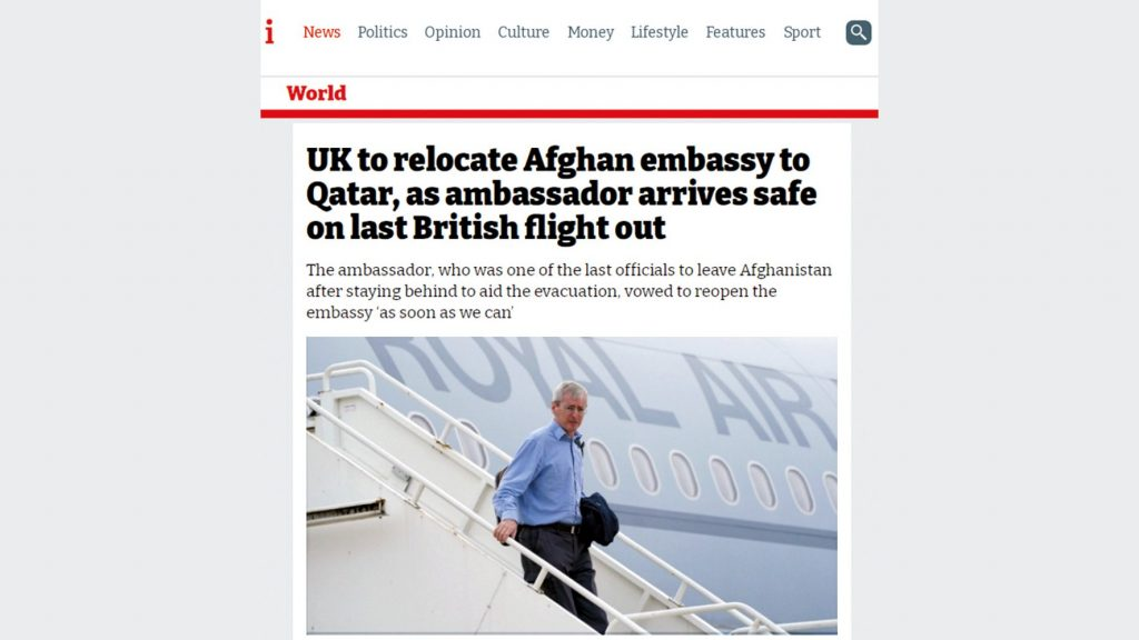 The United Kingdom will relocate its embassy in Afghanistan to Qatar