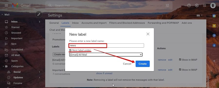 Create folders in Gmail to organize your inbox