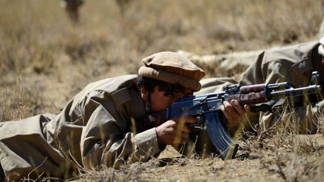 During training of National Resistance Front fighters in Panjshir