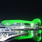 Yas Island landmarks light up in the colors of the Saudi flag