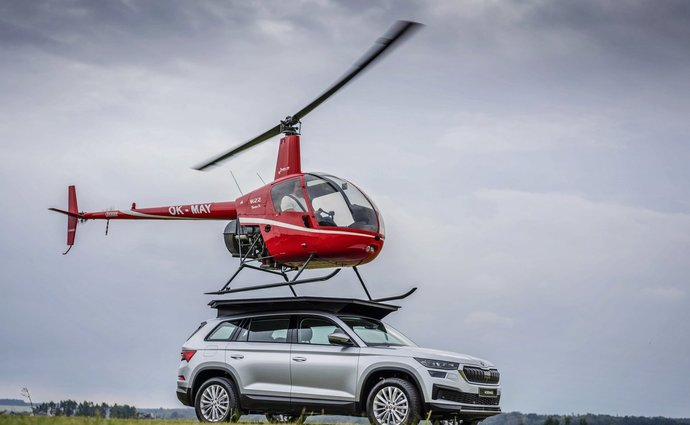 Skoda Kodiak as a helipad for a helicopter?  Yes, minimal modifications were enough