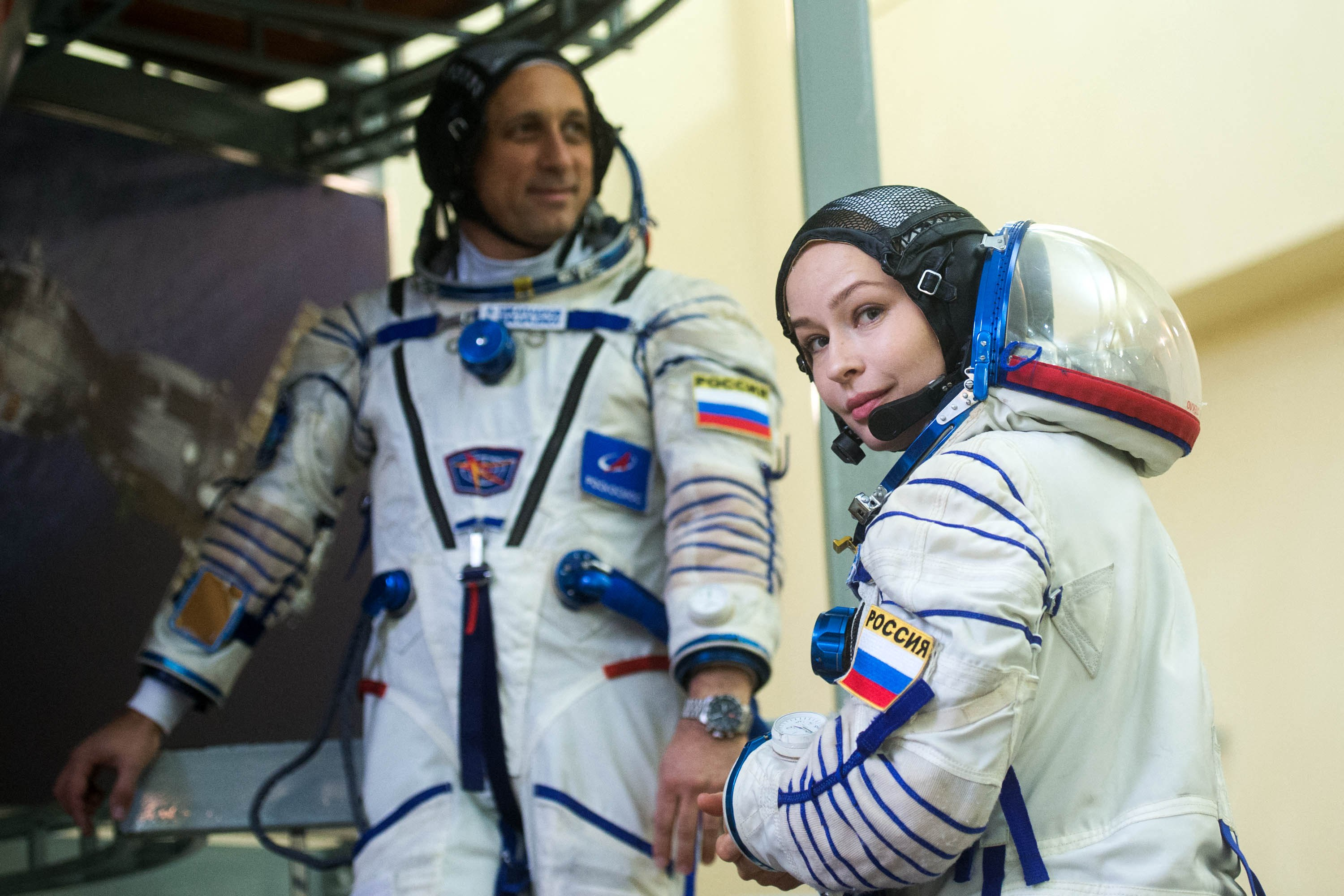 Actress Yulia Peresild attends a spaceflight training earlier this month at the Gagarin Cosmonaut Training Center in Star City, outside Moscow.