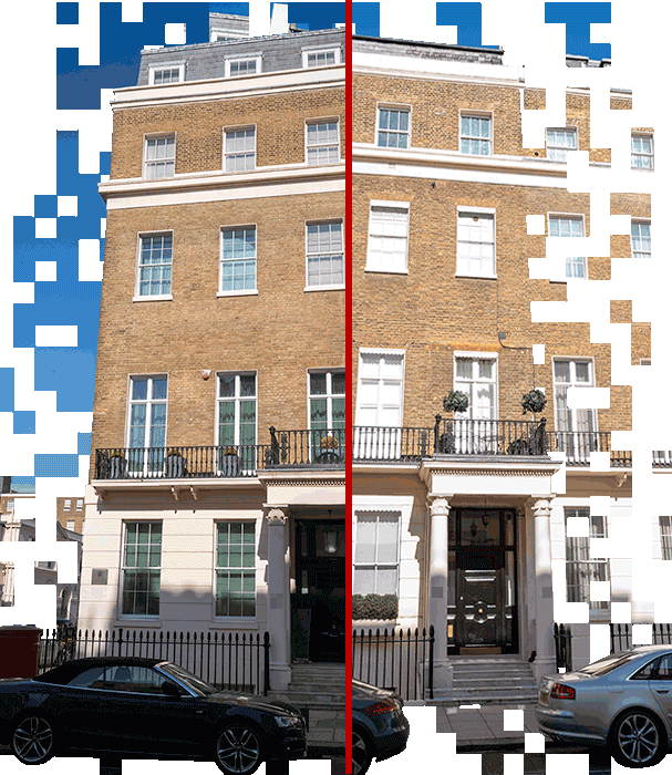 A picture of two buildings in the Belgravia neighborhood