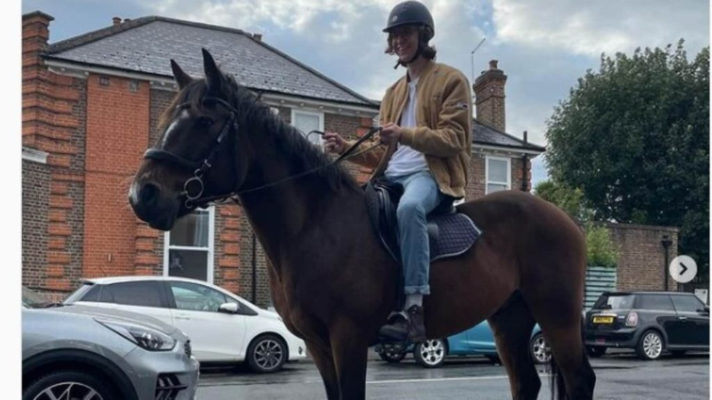 'Running on the Islands': A man on horseback looks at the UK fuel crisis with a funny look